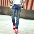 2016 new arrival Korean tight stretch jeans denim pants men's small feet male tide korean style fashion jeans