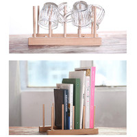New Multifunction Wooden Plate Rack Wood Stand Books CD Display Holder Lids Holds 7 Heavy DIY