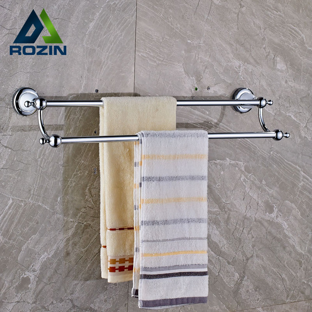 Merveilleux Wall Mounted Double Towel Bar Brass Chrome With Ceramic Bathroom Towel  Holder