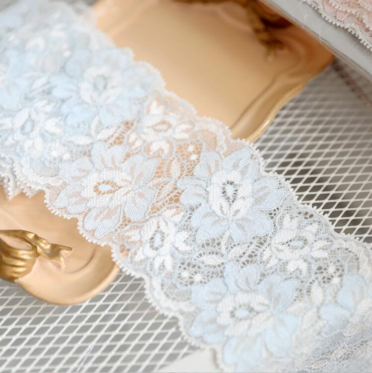 """2 METRES Pale Pink Floral Stretch Lace Trim 7/""""//17cm TOP SELLER Trimming"""