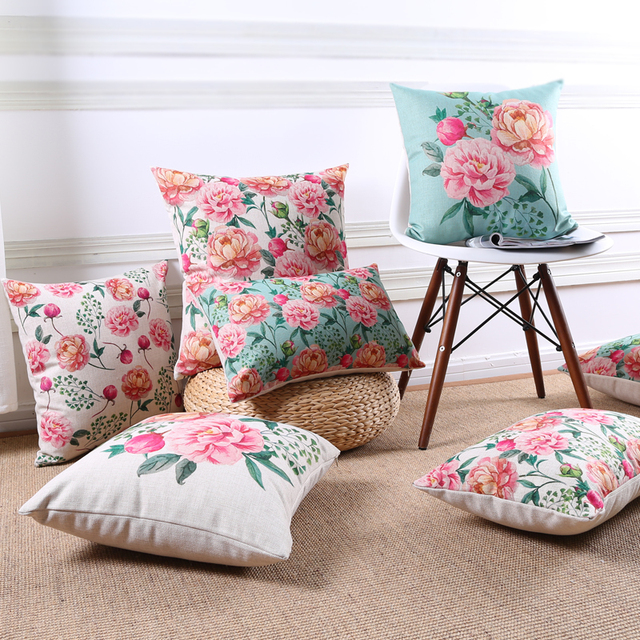 Vintage Flowers Cushion Home Decor Cushion Rose Throw Pillow Case
