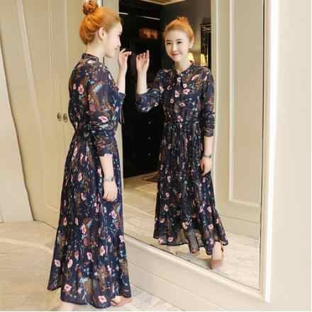 New Floral Print Pleated Dress Summer Autumn Women Long Sleeved Blue Flower Printed Long Chiffon Dresses LJ393