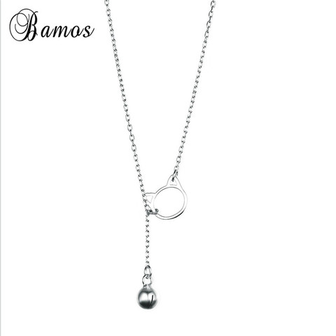 Bamos 100% 925 Sterling Silver Hollow Cat Bead Pendant Necklaces Simple Long Chain&Choker For Women Fashion Jewelry Lover Gifts Karachi