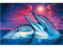 Diamond Mosaic Diy Embroidery Couple Drowning White Dolphin Painting Cross Stitch Floral Rhinestone Decoration