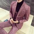 Бесплатная доставка плюс размер М-5XL Корейский новая мода мужская розовые костюмы slim fit повседневная бизнес плед 3 шт. набор свадебный костюм для мужчины