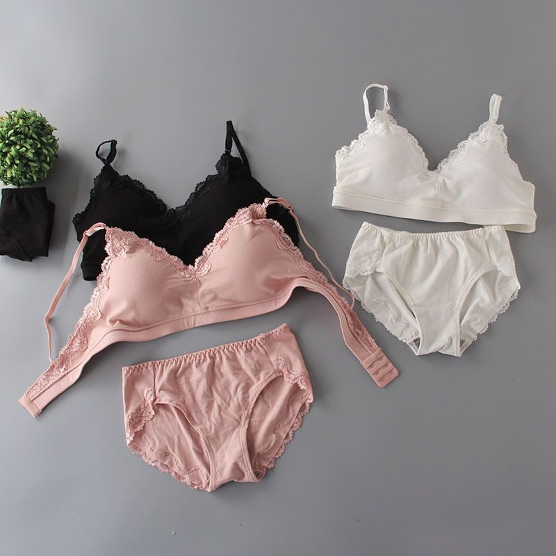 Women Lace Lounge Underwear Elastic Comfortable Wireless Loungewear Lingerie   Bra   & Panty   Set   harajuku   Bras     Sets
