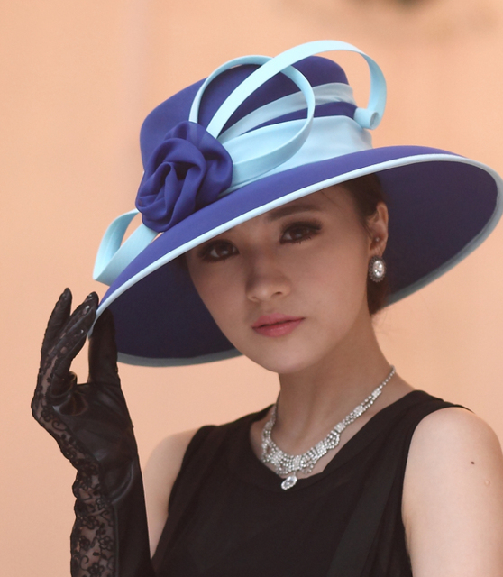Envío Gratis Las Mujeres Elegantes Vestido de La Manera de Las Mujeres Sombrero de Ala Ancha Sombrero de Organza Formal Flor Accesorios para el Pelo de Dos Colores
