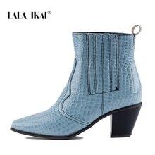f951e0d5a الا IKAI النساء الشتاء حذاء من الجلد كعب مربع الغربية الخريف خنجر الكعب  العالي حذاء من