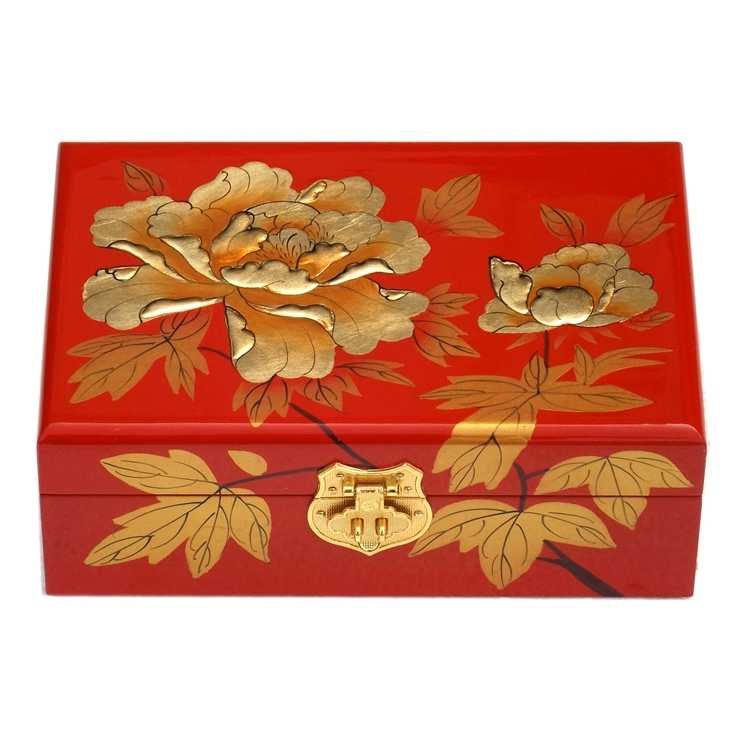 Retro double hand handmade jewelry lacquer jewelry box wood solid wood simple storage box jewelry box 2 layers Gold peony flower