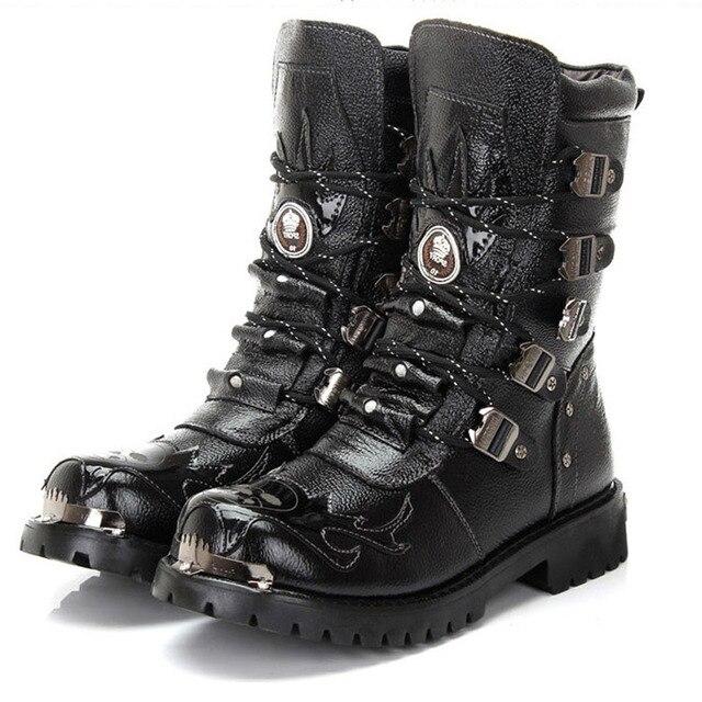 Армейские Ботинки Мужчины Военные Сапоги Из Натуральной Кожи Зимние Черные Коровы Металл Готический Панк Сапоги Мужские Ботинки Мотоцикл Botas Хомбре