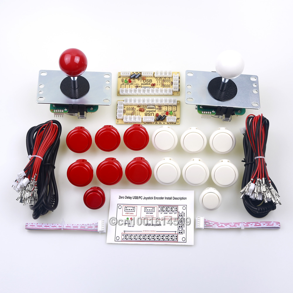 12 x Sanwa Action Buttons & 2 x China Exit Buttons & 2 x Sanwa Joystick & 2 x Zero Delay Encoder Board For Coin Operated Games sanwa button and joystick use in video game console with multi games 520 in 1