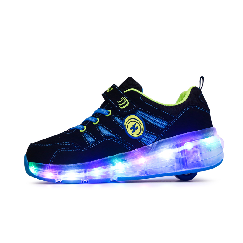 Size 28 40// Basket S Pulley Wheels Shoes Zapatos Automatic Wheel Lights Sports Shoes Kids Sneakers Roller Sneakers BZ065