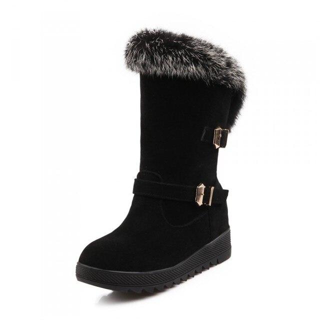 2016 nuevo conejo real fur mitad de la pantorrilla media corta botas de hebilla de las mujeres P1662 bota de nieve zapatos de cuña calzado de invierno caliente más el tamaño 34-40
