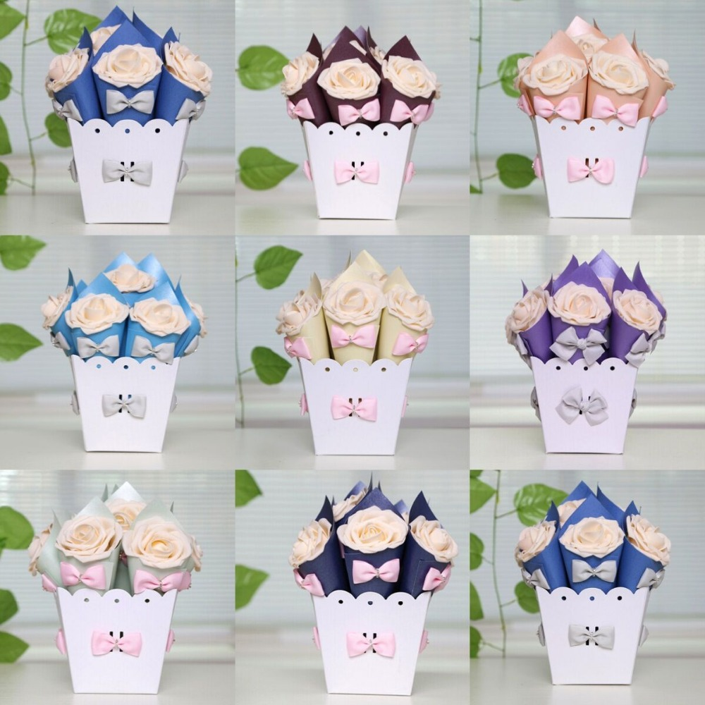 2 Sets (20pcs) European Wedding Favor Decoration Flower Pot Bowknot ...