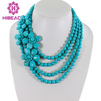 Splendid 4 Rows Blue Turquoise Beads Necklace Turquoise Flower Brooch Fancy Ladies Jewelry Free Shipping TN075
