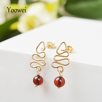 Yoowei Natural Amber Earrings Christmas Tree Unique Gift Trendy Original Tiny Amber Earrings For Girl Handmade