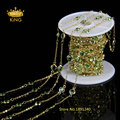 6mm Rosary Chain Olive Green Glass Crystal Quartz Faceted Coin Beaded Gold Silver or Brass Plated Chain Necklace LS068
