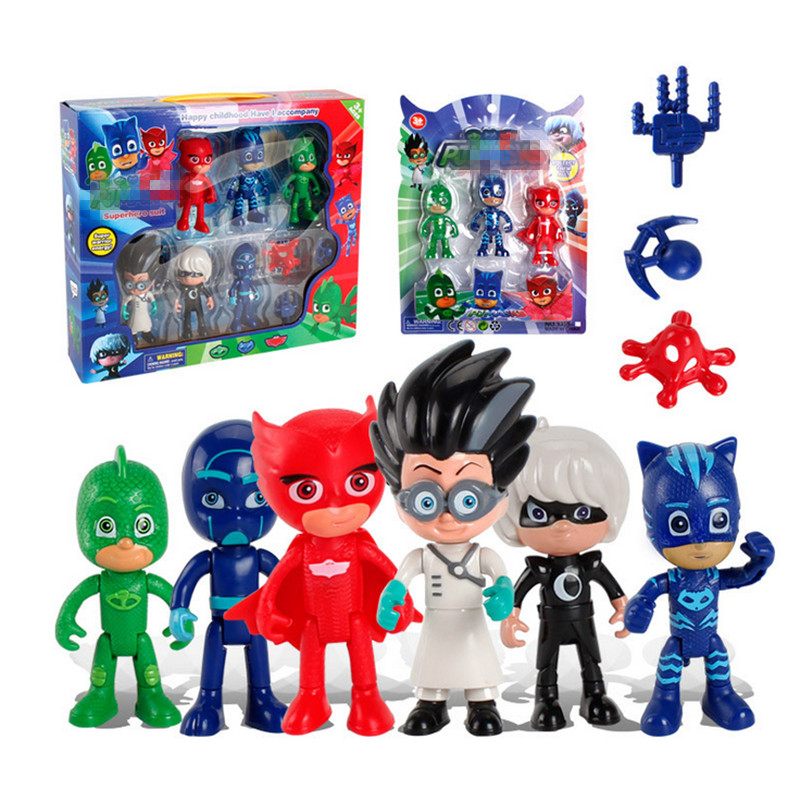 Dropshipping Children's Pj Cartoon Catboy Party Prize  Gekko Cloak Masked Man Pajamas PJ Heros Action Figure Toys birthday Gift 6 kinds cartoon pj masks party watch characters catboy owlette gekko cloak masks action figure toys vinyl doll girls toy gift