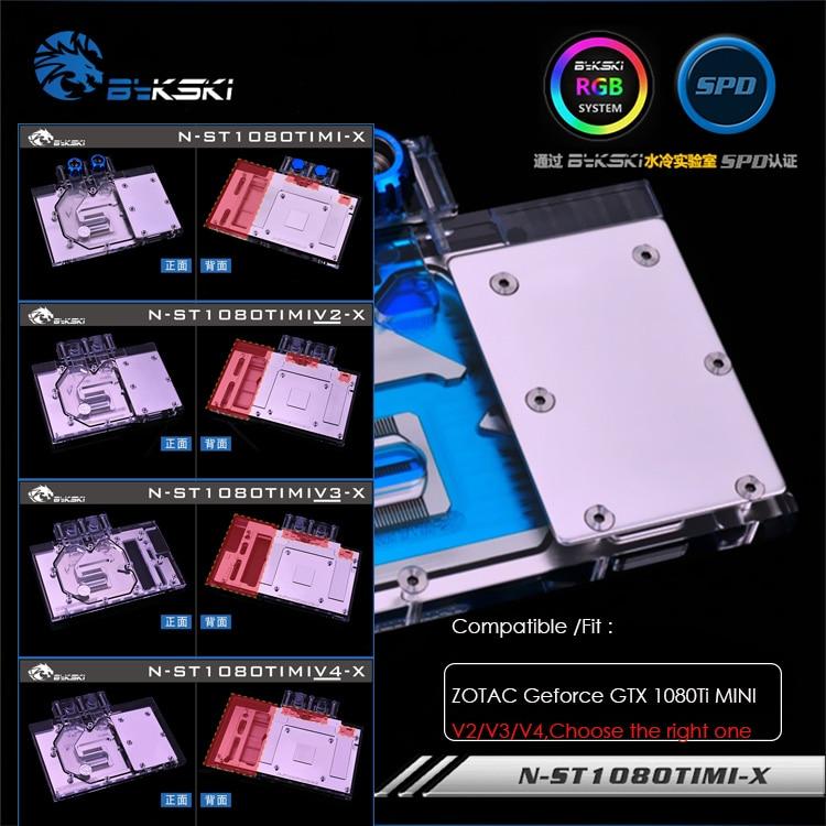 Bykski bloc d'eau pour ZOTAC Geforce GTX 1080Ti MINI, 4 éditions, 12 v 4pin, 5 v 3pin tête de lumière, N-ST1080TIMI/V2/V3/V4-X