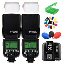 2pcs Godox TT685S TTL HSS GN60 Speedlite Flash for Sony A7 II A7R II A7S II A6300 +X1T-S TTL 2.4G HSS Wireless Trigger
