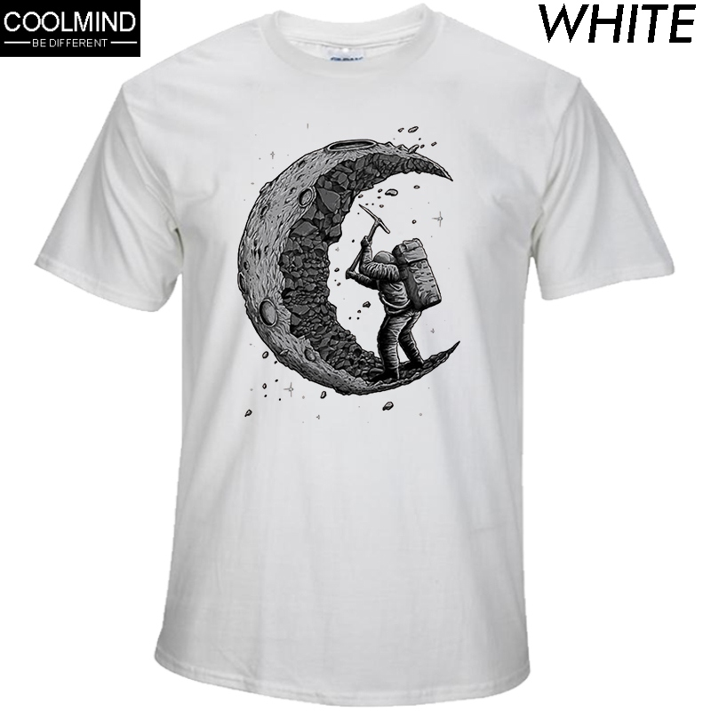 Men T-Shirt Tops Short-Sleeve Moon-Print Men's Casual Fashion 100%Cotton O-Neck Digging