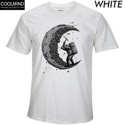 Повседневные мужские футболки с круглым вырезом и принтом «копание Луны» из 100% хлопка, модные мужские топы, мужские футболки с коротким рук...