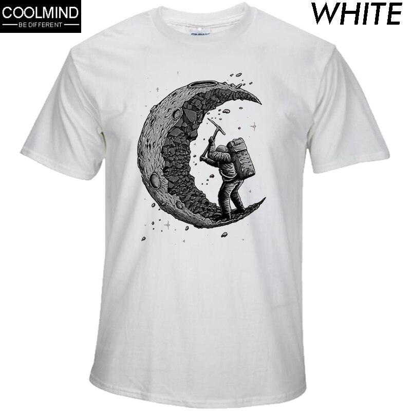 100% хлопок копать луна печати повседневные мужские футболки с круглым вырезом Модные мужские топы Мужчины футболка с коротким рукавом мужск...
