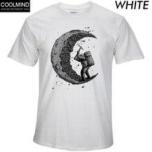 100% algodón excavando la luna estampado casual hombres o-cuello camisetas moda hombres tops hombres manga corta Camiseta hombres camiseta 2017