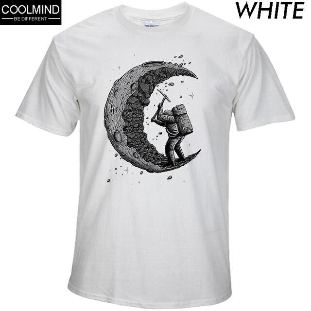 100% algodão a cavar a lua imprimir casual mens o-neck camisetas moda tops T-shirt dos homens de manga curta dos homens dos homens tshirt 2017