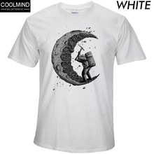 100% cotton digging the moon print casual mens o-neck t shirts fashion men's tops men T-shirt short sleeve men tshirt 2017(China)