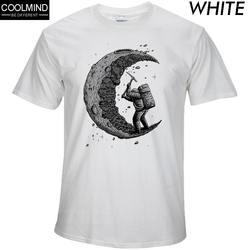 100% хлопок копать луна печати повседневные мужские футболки с круглым вырезом Модные мужские топы Мужчины футболка с коротким рукавом