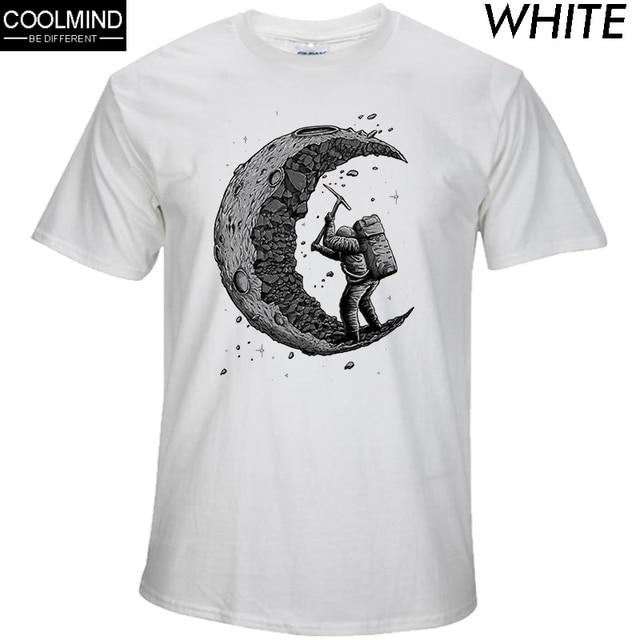 100% כותנה לחפור את ירח הדפסה מזדמן mens o-צוואר t חולצות אופנה גברים של חולצות גברים חולצה קצר שרוול גברים חולצת טי 2017