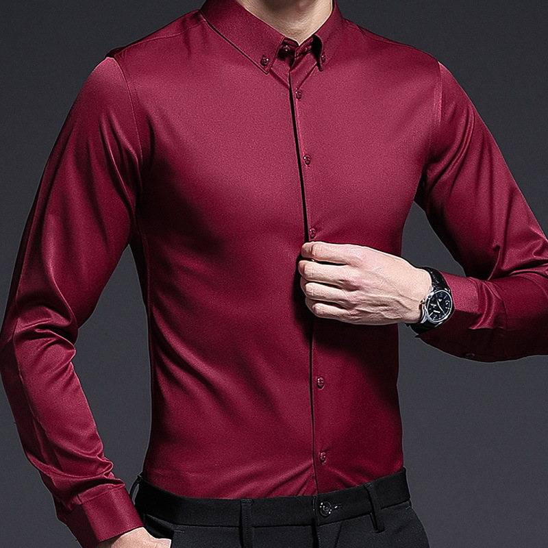 Spring 2019 Men's Leisure Long Sleeve Shirt Men's Korean Edition of Liquor Red Shirt Men's Fashion Youth Shirt