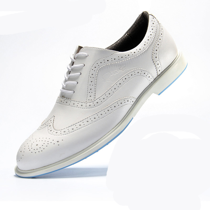 Mens women Golf Shoes Genuine Leather Shoes British Style Waterproof Breathable Free Shipping ...