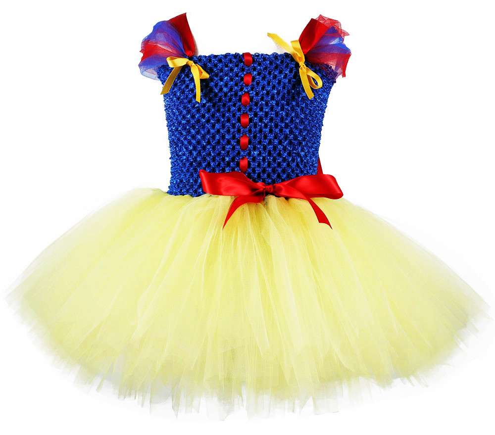 Princess Snow White Birthday Party Tutu Dress For Baby Girls Child Formal Clothes Special Occasion Dresses Blue Yellow Custom
