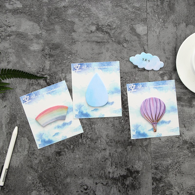 1 pcs cloud rainbow Hot air balloon memo pad paper Post notes sticky notepad stationery papeleria school supplies kids gifts