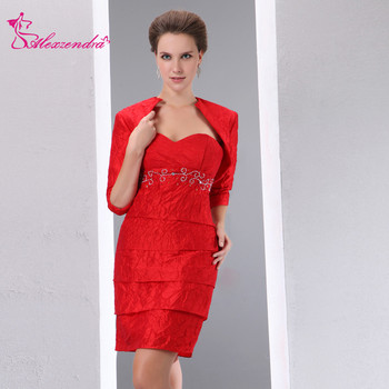 Alexzendra Red Sweetheart Beads Mini Mother of Bride Dress with Jacket Elegant Long Evening Gowns Plus Size