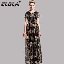 CLOLA Summer Women Mesh Long Dress 2017 Black Golden Embroidery Elegant Party Vestidos O-neck Short Sleeve Belt Ladies' Dresses
