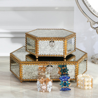 Metal Glass Storage Box Jewelry Box Bedroom Dressing Table Decoration Creative Jewelry Box