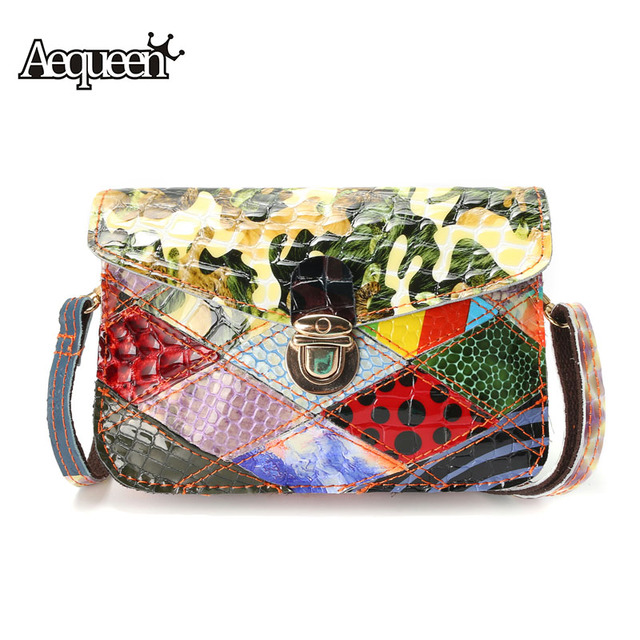 fa4dc291fd42 AEQUEEN Genuine Leather Small Crossbody Bags Women Shoulder Bag Summer  Patchwork Style Bright Lady Flap Fashion