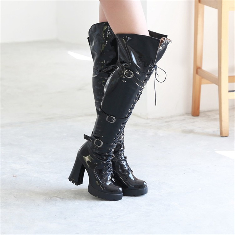 PXELENA Luxury Patent Leather Punk Rock Buckle Thigh High Boots Women Shoes Chunky Block High Heel