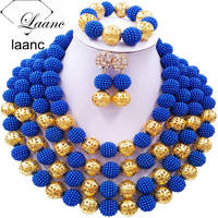 Laanc Royal Blue Simulated Pearl Beads African Necklace Nigerian Wedding Bridal Jewelry Sets 4RJSQ011