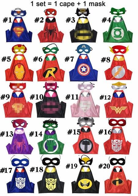 100 Crianças Super hero Capes-lados Dobro Tecido de Cetim Super hero capa máscara da festa de aniversário Crianças Presentes Traje cosplay suprimentos