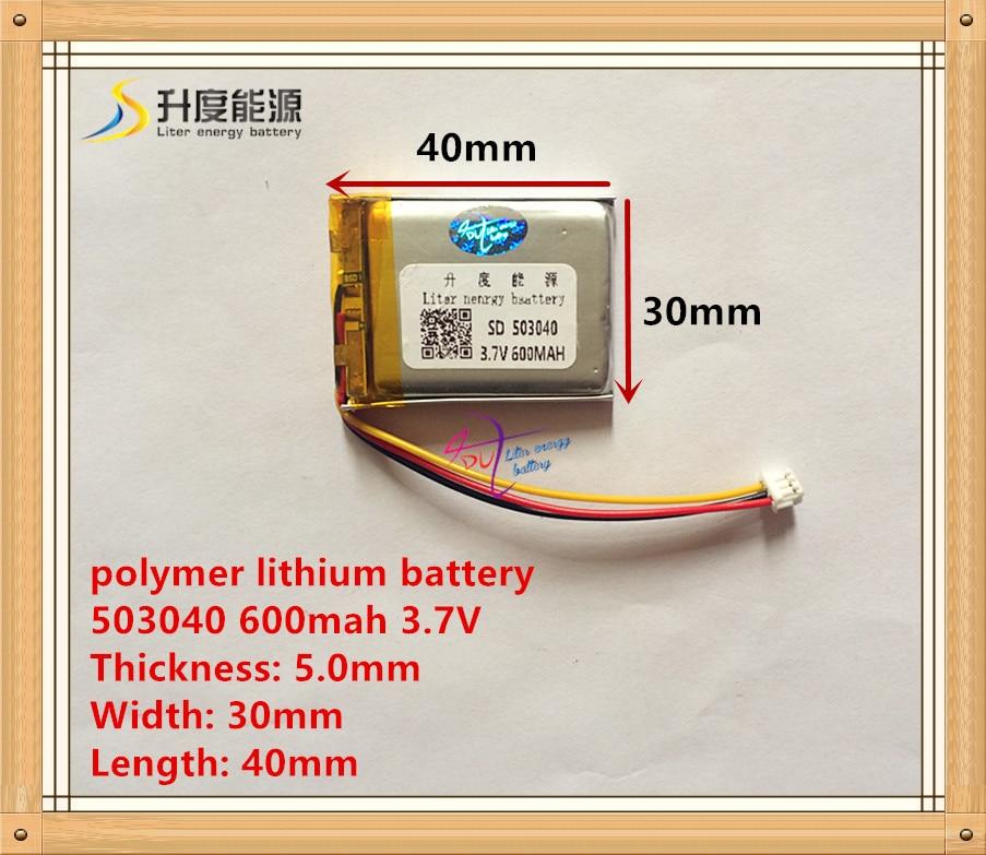 503040 053040 polimerų akumuliatoriaus akumuliatoriaus gnybto laidas 600mah 3.7V MP3 MP4 baterija