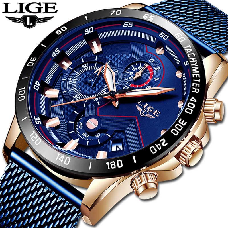 2019 nuevo LIGE azul Casual malla Correa moda cuarzo oro reloj para hombre relojes marca superior reloj impermeable de lujo