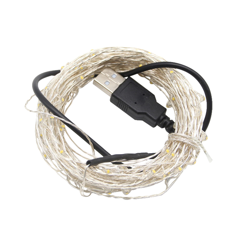 Image 2 - 5M 10M USB Powered LED Strip Light LED Silver Copper Wire Fairy String for Outdoor Christmas Tree Garland Party Decoration-in LED Night Lights from Lights & Lighting