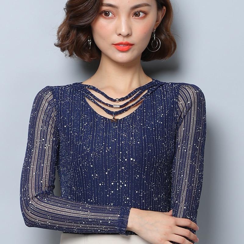 2018 New Spring Women Shirts Full Sleeve Mesh V-Neck Gold And Silk Blouse Shirt Blue Black 0837