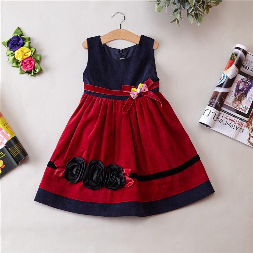 New Flowers Corduroy Material Kids Girl Dresses Fashion Stripe ...