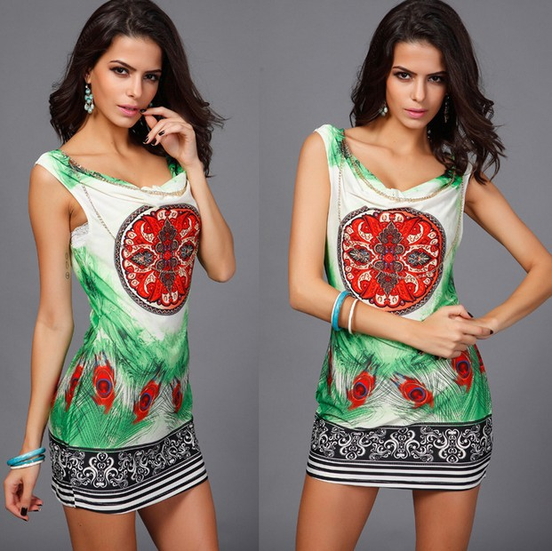 Hot Selling <font><b>2015</b></font> Fashion <font><b>Sexy</b></font> Feather Printed Women Summer Casual Sleeveless Dresses Vintage Pattern Stretch Party Mini Dress image