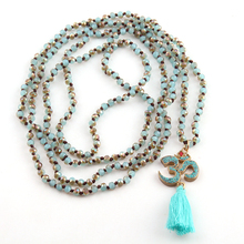 Fashion Bohemian Tribal Jewelry 4mm Mini Glass Knotted Blue Tassel OM Necklaces For Women Lariat Necklaces
